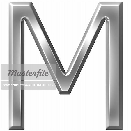 3d silver letter M isolated in white Stock Photo - Budget Royalty-Free, Image code: 400-04700612