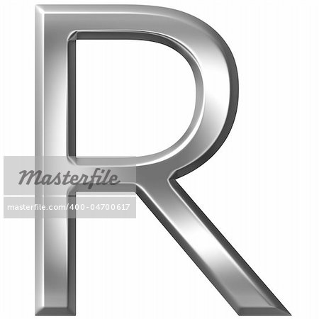 3d silver letter R isolated in white Stock Photo - Budget Royalty-Free, Image code: 400-04700617