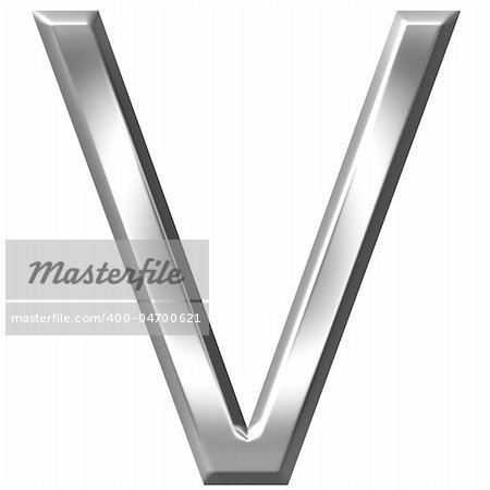 3d silver letter V isolated in white Stock Photo - Budget Royalty-Free, Image code: 400-04700621