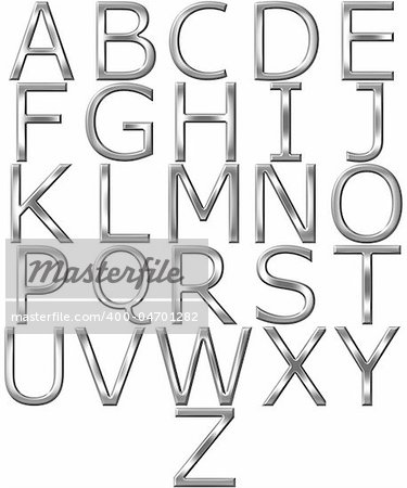 3d silver alphabet isolated in white Stock Photo - Budget Royalty-Free, Image code: 400-04701282