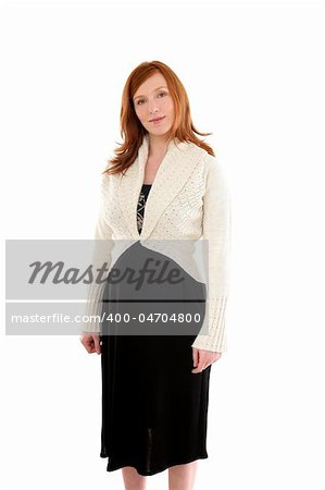 Beautiful pregnant redhead woman fashion white background Stock Photo - Budget Royalty-Free, Image code: 400-04704800