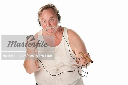 Sloppy looking man with cigar and mp3 player Stock Photo - Budget Royalty-Free, Image code: 400-04705150