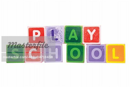 assorted childrens toy letter building blocks against a white background that spell playschool with clipping path Stock Photo - Budget Royalty-Free, Image code: 400-04710438