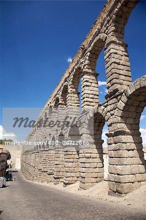 roman aqueduct of segovia city in spain