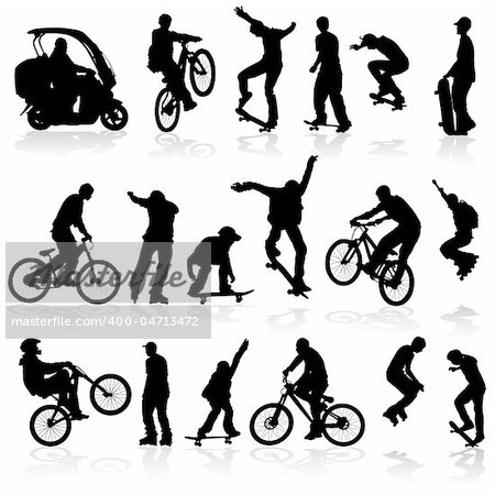 Extreme silhouettes man on roller, bicycle, scooter, skateboard, vector illustration Stock Photo - Budget Royalty-Free, Image code: 400-04713472