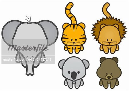 Vector illustration set of different cartoon wild/zoo animals. All vector objects and details are isolated and grouped. Colors and transparent background color are easy to adjust. Stock Photo - Budget Royalty-Free, Image code: 400-04717146