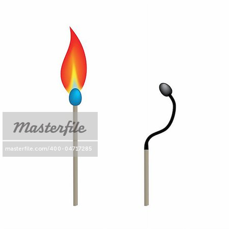 Vector - Illustration of two match sticks with burning fire and burnt Stock Photo - Budget Royalty-Free, Image code: 400-04717285