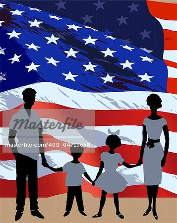 Silhouette of a family background on American flag Stock Photo - Budget Royalty-Free, Image code: 400-04719658