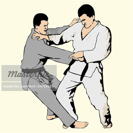 Vector illustration of ju-jutsu fighting Stock Photo - Budget Royalty-Free, Image code: 400-04719659