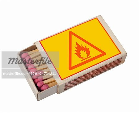 Yellow  matchbox with hazard sign isolated on white, clipping path. Stock Photo - Budget Royalty-Free, Image code: 400-04724211