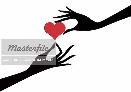 female hands with red heart, vector background