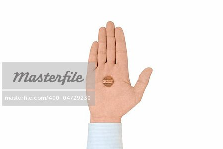 "Coin ""fortune"" in the palm of hand, isolated on white. Photographed close-up. Stock Photo - Budget Royalty-Free, Image code: 400-04729230"