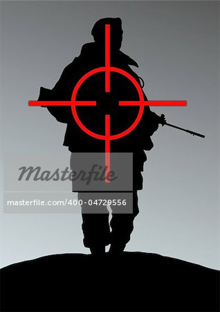 Illustration of a soldier being targeted Stock Photo - Budget Royalty-Free, Image code: 400-04729556