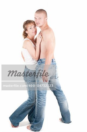 Studio shot o man and woman isolated on white Stock Photo - Budget Royalty-Free, Image code: 400-04732323