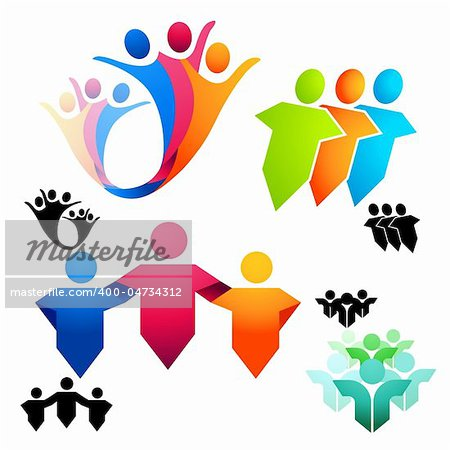 United People Symbols and icons. Vector illustrations. Stock Photo - Budget Royalty-Free, Image code: 400-04734312
