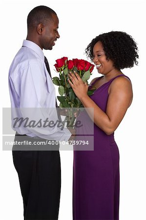 Romantic black couple holding roses Stock Photo - Budget Royalty-Free, Image code: 400-04739794