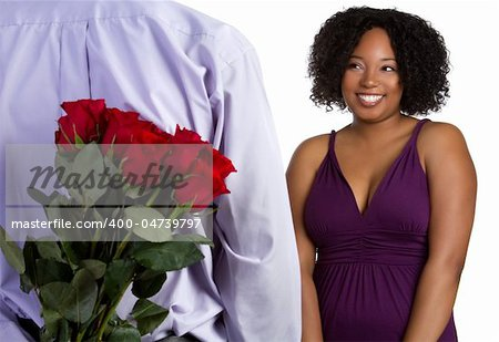 Romantic black couple with roses Stock Photo - Budget Royalty-Free, Image code: 400-04739797