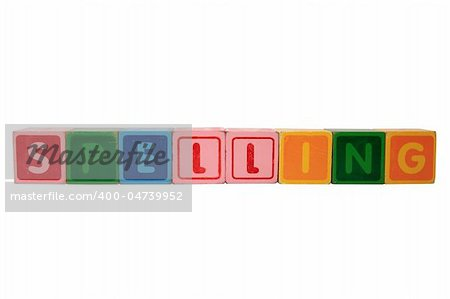 toy letters that spell spelling against a white background with clipping path Stock Photo - Budget Royalty-Free, Image code: 400-04739952