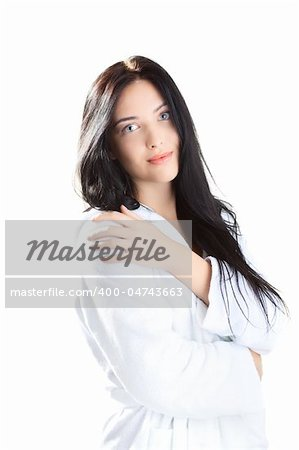 beautiful woman  in bathrobe over white background Stock Photo - Budget Royalty-Free, Image code: 400-04743663