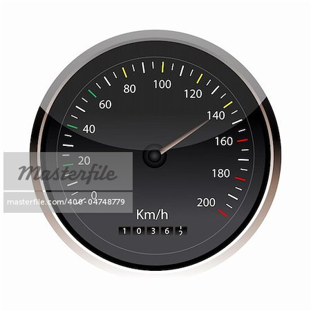 illustration of speedometer in an isolated background Stock Photo - Budget Royalty-Free, Image code: 400-04748779