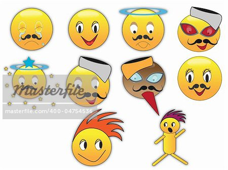 Collection of different emoticons in variety of expressions Stock Photo - Budget Royalty-Free, Image code: 400-04754536