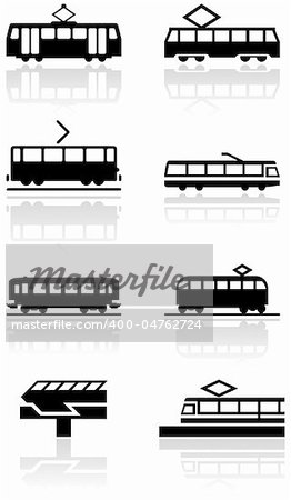 Vector set of different train illustrations or symbols. All vector objects are isolated. Colors and transparent background color are easy to adjust. Stock Photo - Budget Royalty-Free, Image code: 400-04762724