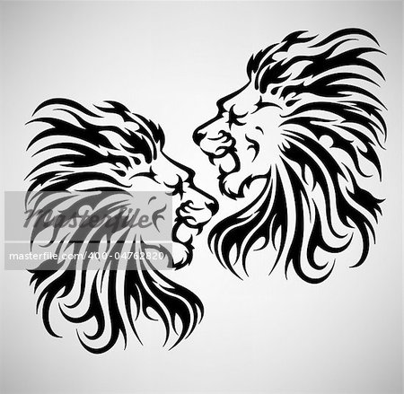 Lion roar vector illustration, in black and white tattoo style Stock Photo - Budget Royalty-Free, Image code: 400-04762820