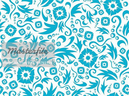 Vector seamless flower pattern of dark blue colour on a white background