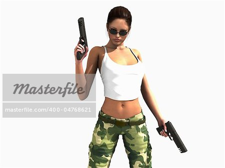 3d illustration of a female soldier holding two guns Stock Photo - Budget Royalty-Free, Image code: 400-04768621