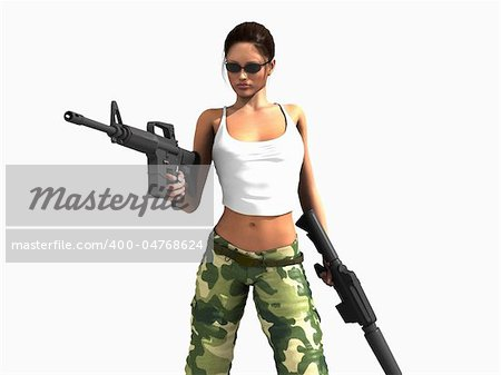 3d illustration of a female soldier holding two guns Stock Photo - Budget Royalty-Free, Image code: 400-04768624