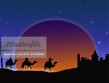 Three wise-men traveling to Bethlehem, following the star - vector illustration Stock Photo - Budget Royalty-Free, Image code: 400-04769062