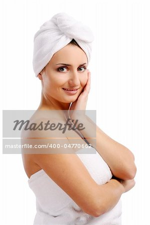 young and beautiful girl on white Stock Photo - Budget Royalty-Free, Image code: 400-04770662