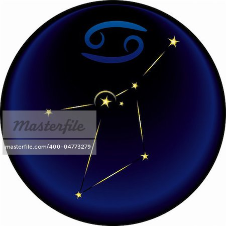 Cancer constellation plus the Cancer astrological sign Stock Photo - Budget Royalty-Free, Image code: 400-04773279