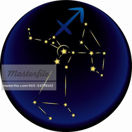 Sagittarius constellation plus the Sagittarius astrological sign Stock Photo - Budget Royalty-Free, Image code: 400-04778143