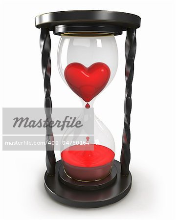 Hourglass with heart and blood isolated on white background Stock Photo - Budget Royalty-Free, Image code: 400-04780164