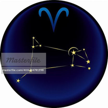 Aries constellation plus the Aries astrological sign Stock Photo - Budget Royalty-Free, Image code: 400-04781398