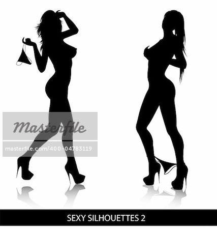 Sexy female silhouettes isolated on white background. Stock Photo - Budget Royalty-Free, Image code: 400-04783119