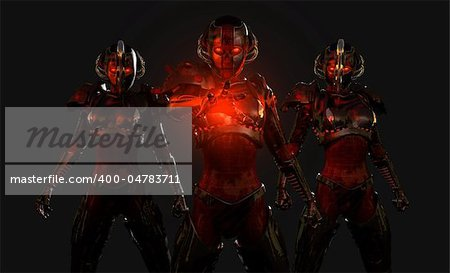 quality 3d illustration of advanced cyborg characters Stock Photo - Budget Royalty-Free, Image code: 400-04783711