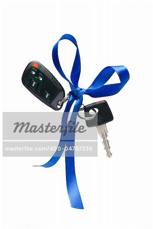 Car ignition key with security system, isolated on white Stock Photo - Budget Royalty-Free, Image code: 400-04787336