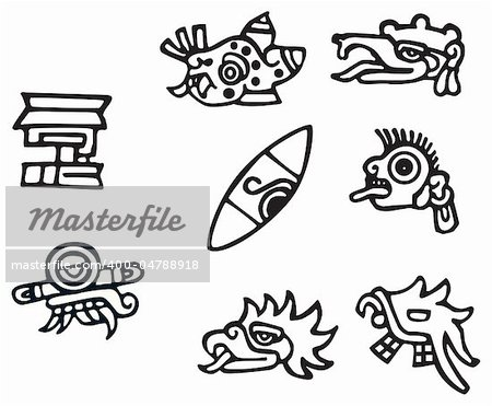 Mayan symbols, great artwork for tattoos, lots of Inca signs and symbol. Stock Photo - Budget Royalty-Free, Image code: 400-04788918