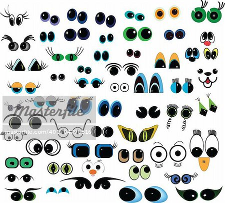 Set of cartoon vector eyes over white background Stock Photo - Budget Royalty-Free, Image code: 400-04790516