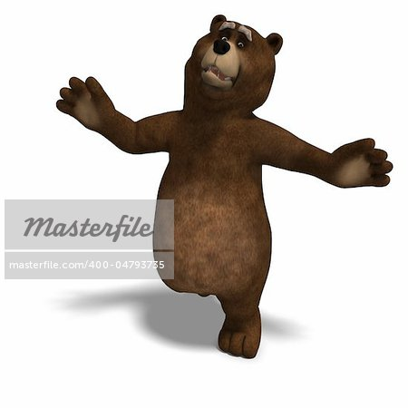 cute and funny toon bear. 3D rendering with clipping path and shadow over white Stock Photo - Budget Royalty-Free, Image code: 400-04793735