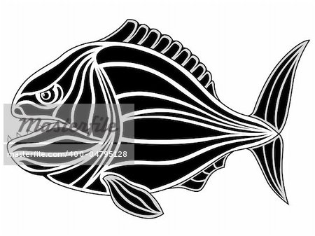 Abstract piranha in the form of a tattoo Stock Photo - Budget Royalty-Free, Image code: 400-04795128