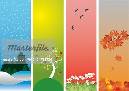 Four Seasons. Colorful style to vector illustration. Winter, spring, summer and autumn Stock Photo - Budget Royalty-Free, Image code: 400-04795736