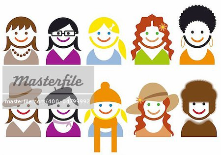 woman faces and hair style, vector icon set
