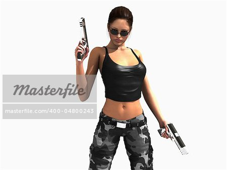 3d illustration of a soldier girl holding two guns Stock Photo - Budget Royalty-Free, Image code: 400-04800243