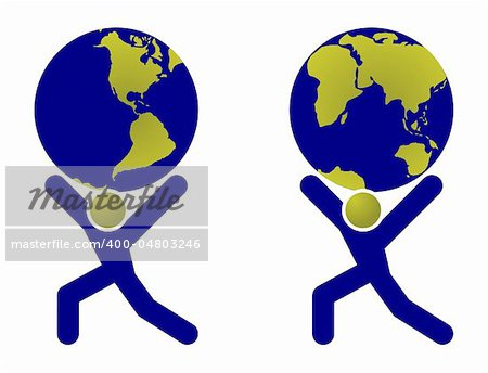 Abstract man silhouette holding earth globe on shoulders illustration. Stock Photo - Budget Royalty-Free, Image code: 400-04803246