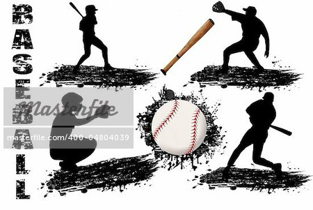 Baseball player silhouettes on white background, vector illustration Stock Photo - Budget Royalty-Free, Image code: 400-04804039