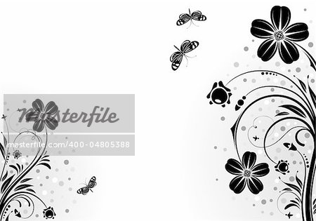 Decorative Floral frame with butterfly, vector illustration Stock Photo - Budget Royalty-Free, Image code: 400-04805388