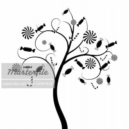 Vector tree silhouette with candies